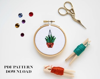 BEGINNER - Hanging Plant Baby Cross Stitch Pattern - DIGITAL DOWNLOAD
