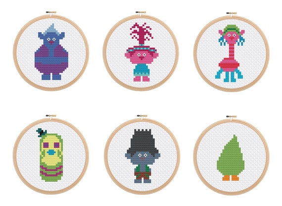 Trolls Cross Stitch Patterns 6 Different Characters Poppy Etsy
