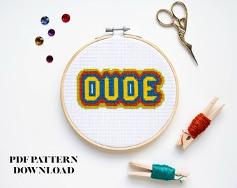 70s Retro Vintage Style Dude - Cross-Stitch Pattern - INSTANT DOWNLOAD