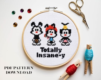Totally Insane-y Animaniacs Cross Stitch Pattern - INSTANT DOWNLOAD