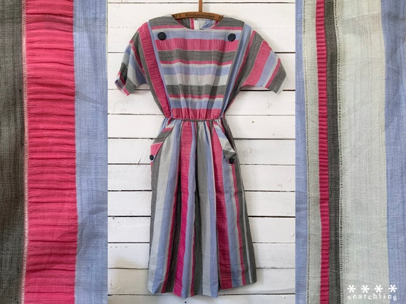 Vintage pink, purple, white and grey summer dress
