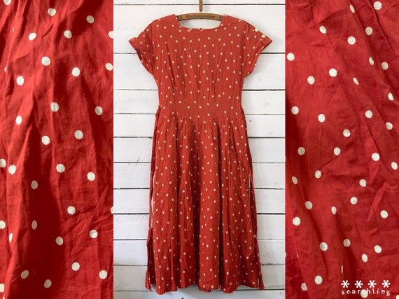 Vintage 1990's red orange polkadot dress - Medium