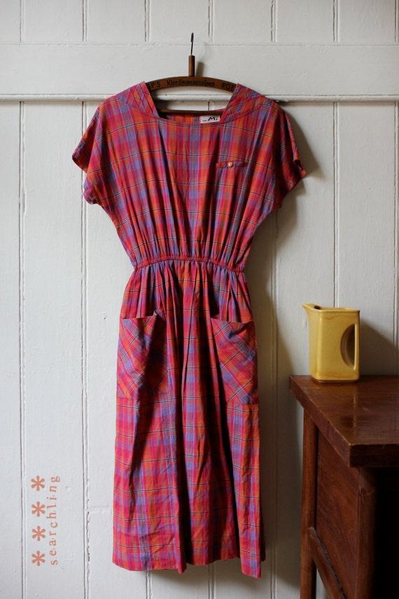 Vintage 1980's pink plaid cotton dress - Medium