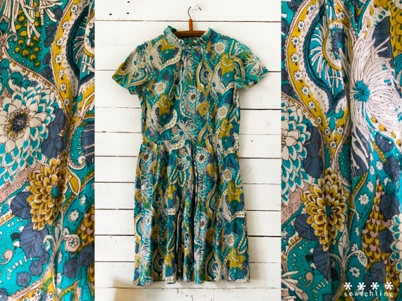70s vintage floral paisley blue green dress - smal