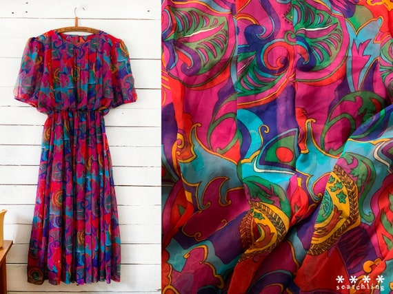 Vintage Psychedelic colourful rainbow dress - medi
