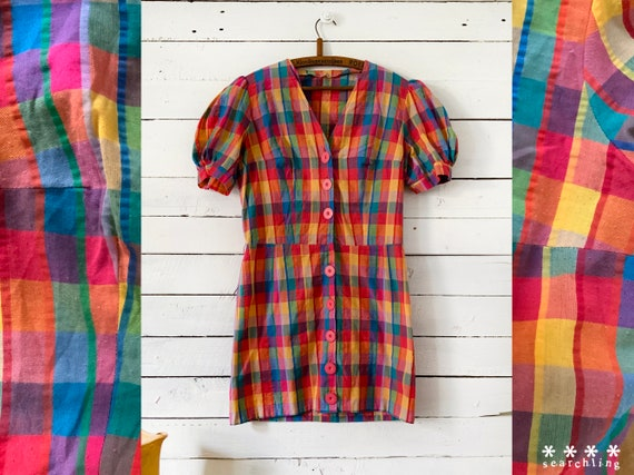 90s retro rainbow plaid cotton mini dress - small