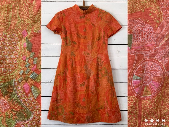 Unique vintage 60's orange mini dress - Small