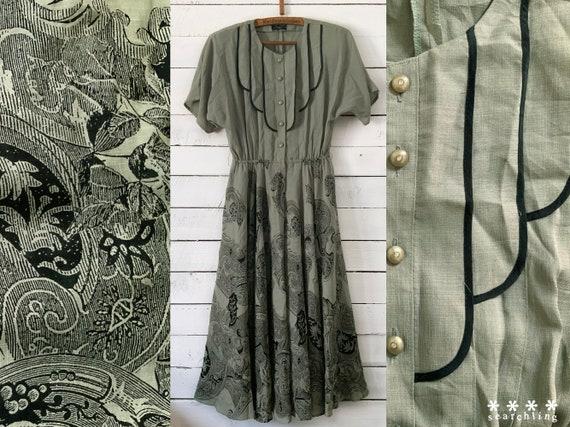 Vintage 1980's Art deco style grey green dress - L