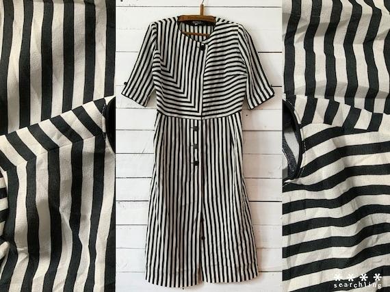 Vintage 1980s black and white striped dress - Medi