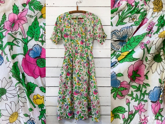 Beautiful vintage pink florals summer dress - Medi