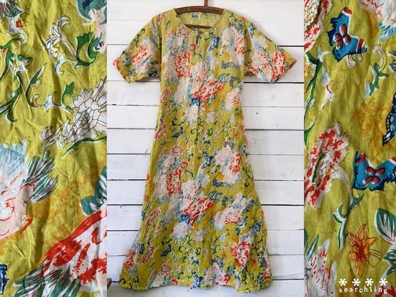 Vintage green paisley floral print cotton dress -
