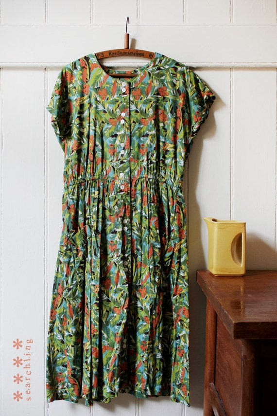 Vintage 1980's Tropical floral dress - Medium