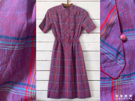Vintage pink & purple plaid summer dress - Small
