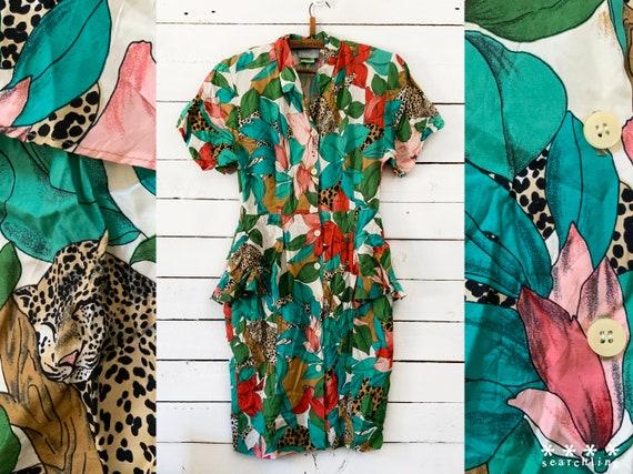 Vintage 80s 90s tropical leopard print dress - Sma