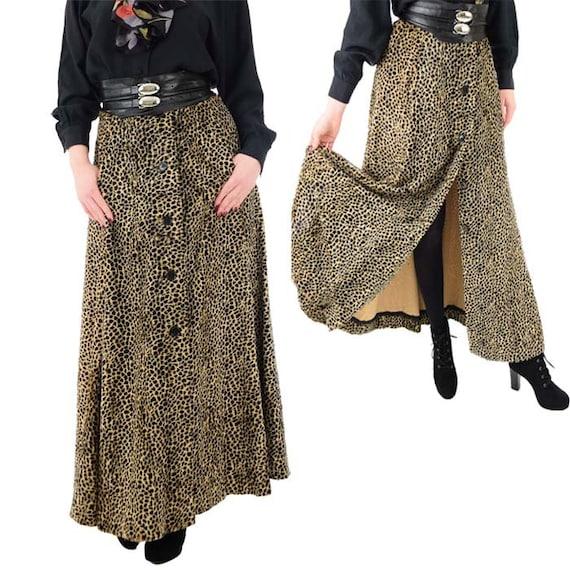 70s Cheetah Print Velvet Maxi Skirt-Animal Print S