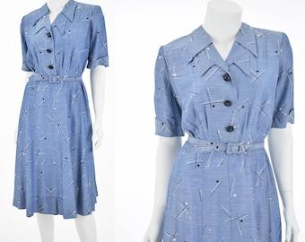 40s Blue Novelty Print Dress-1940s Shirtwaist Day Dress-Short Sleeved-Belted-Cool Silky Rayon-Gored Skirt-XL