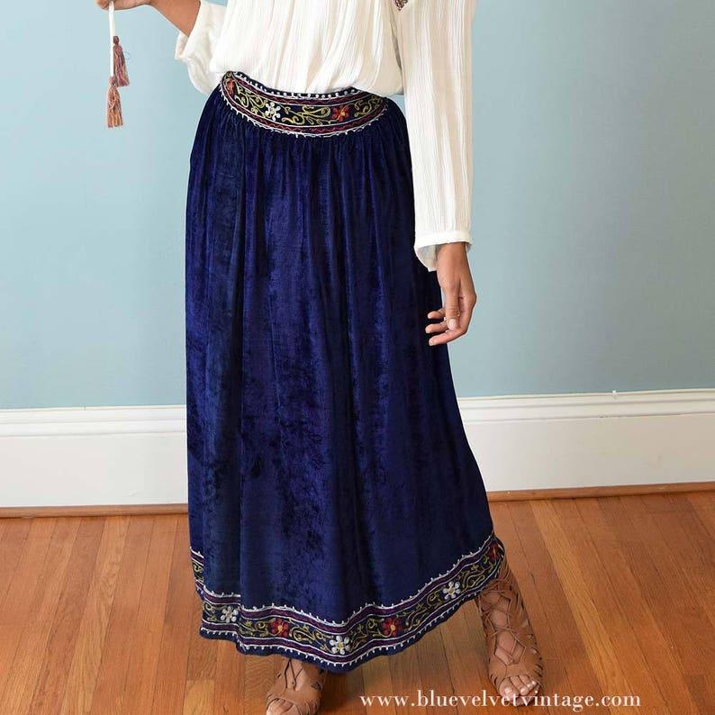 f45d17451a9 60s Blue Crushed Velvet Maxi Skirt-Boho 1960s Vintage