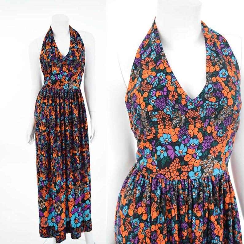 798be12e0b 70s Floral Border Print Maxi Dress-1970s Halter