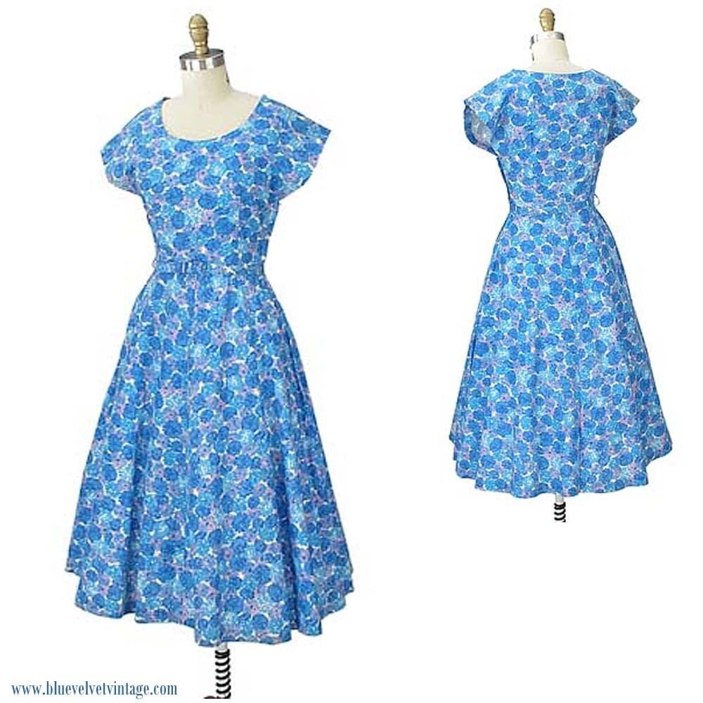 3596be96e7 1950s Blue Floral Midi Dress-50s Flower Print Day Dress-Tea