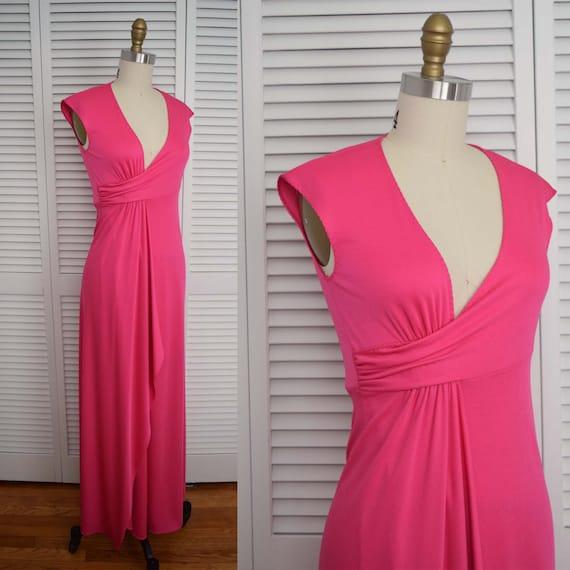 S-70s Stephen Burrows Pink Wrap Maxi Dress-1970s D