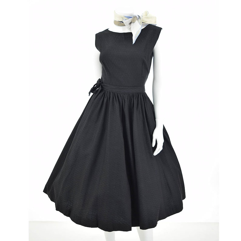 ab32419be50 50s Black Fit and Flare Wrap Dress-1950s Audrey Style