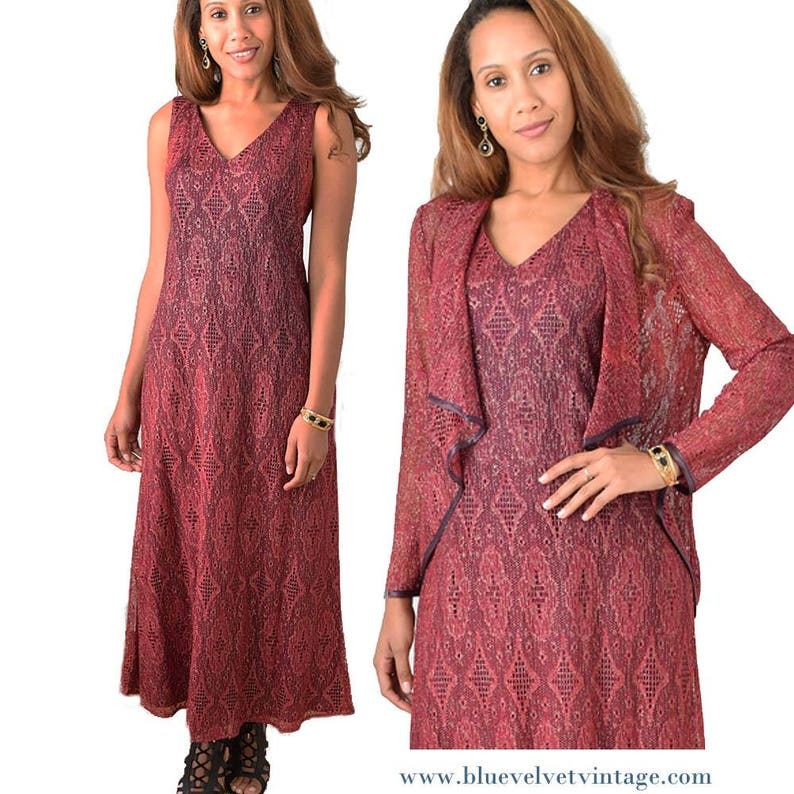 9c0fa79bde4 90s Burgundy Metallic Lace Maxi Dress-Vintage Long Lurex
