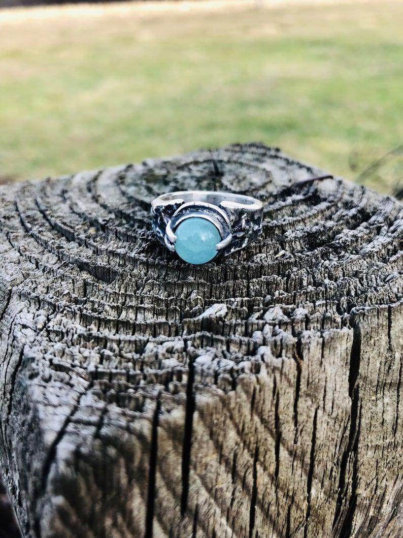 Silver Aqua Chalcedony Textured Ring