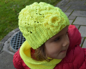 Hand Knit Girl Beanie Hat with flower - Winter wool hat