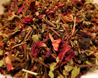 Carrie - Horror Movie theme, Blood Red Herbal tea, Kukicha, Hibiscus, Rosehips, Red Rooibos, Catnip, Maqui Berry