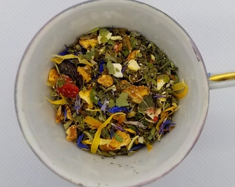 Spring Fling - Floral Tea, Organic Herbal Tea, Loose Leaf, Cornflower, Calendula, Strawberry, Nettle, Spearmint, Oat Straw, Skullcap, Orange