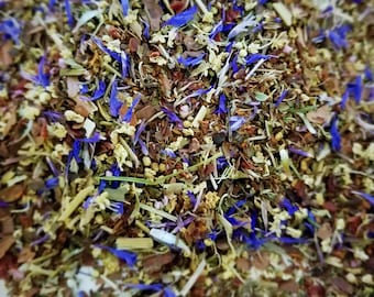 Ragdoll Sally - Organic Herbal Blend, Halloween, Flowers, Herbal Tisane, Elder Flower, Violet Leaf, Cornflower, Rosehips, Heather, Cacao