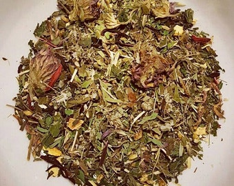 Womens Roar & The Cat's Meow - Organic Loose Leaf Tea, Menstrual Tea, PMS Tea, Red Clover, Lemon Balm, Hibiscus, Raspberry Leaf