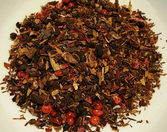 Wine of Dracule - Organic Loose Leaf Herbal Tea, Hibiscus, Rosehips, Vanilla Rooibos, Cinnamon, Elderberry, Cacao, Pink Peppercorn, Cinnamon