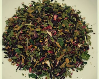 Hibiscus Rose - Organic Tea, Vegan, Herbal Tea, Loose Leaf Tea, Hibiscus, Nettle, Rosehip, Spearmint, Cinnamon, Organic Hibiscus Tea