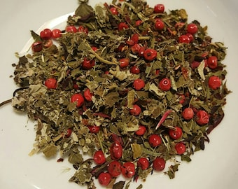 Immunity Punch, Organic Loose Leaf Tea, Tea for Colds, Herbal Tea, Lemon Balm, Raspberry, Chicory, Hibiscus, Rosehips, Pink Peppercorns