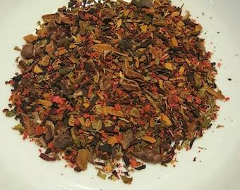 Night Magick, Organic Tea, Loose Leaf Tea - Strawberry, Cacao Nibs, Chicory, Hibiscus, Cinnamon, Chocolate Tea, Lemon Balm, Gift For Mom