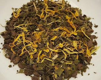 Love in the Afternoon - Audrey Hepburn, Green Tea, Catuaba Bark, Peppermint, Spearmint, Cinnamon, Calendula, Organic Loose Leaf, Herbal Tea