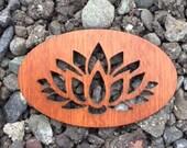 2 Pack - Lotus Blossom Mahogany Wood Veneer Laser Cut Wooden Sticker