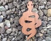 2 Pack - Serpent Snake Walnut Wood Veneer Laser Cut Wooden Sticker