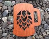 2 Pack - Hops Homebrew Beer Mug Stein Mahogany Wood Veneer Laser Cut Wooden Sticker