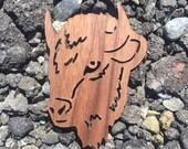 2 Pack - Wild West Buffalo Animal Spirit Walnut Wood Veneer Laser Cut Wooden Sticker