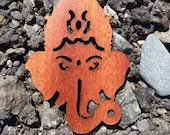 2 Pack - Lord Ganesha Elephant God Remover of Obstacles Eastern Religions Laser Cut Mahogany Wooden Sticker