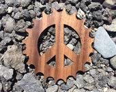 2 Pack - Peace Sign of the Times Cogwork Gear Work for Peace Laser Cut Walnut Veneer Wooden Sticker