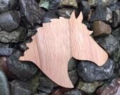 2 Pack - Stallion Horse Head Silhouette Walnut Wood Veneer Laser Cut Sticker