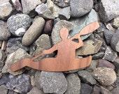 2 Pack - Kayak River Runner Wild Ocean Paddle Walnut Laser Cut Wooden Veneer Sticker