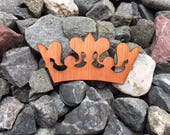 2 Pack - Queen Everyday Princess Crown Mahogany Laser Cut Wooden Veneer Sticker