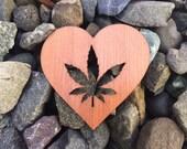 2 Pack - Natural Medicine Marijuana Lover Heart Redwood Laser Cut Sticker