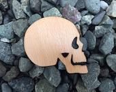 2 Pack - Skeleton Side Profile Skull Beech Wood Laser Cut Sticker