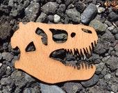 2 Pack - Tyrannosaurus T-Rex Skull Jurassic Dinosaur Theropod Laser Cut Real Wooden Sticker