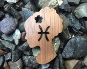 2 Pack - Maiden Horoscope Astrology Sign Flowers in her hair Walnut Laser Cut Wooden Sticker